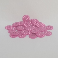 <!-- 050 --> Plastic Polka Dot Buttons - Cerise, per button - available in 2 sizes