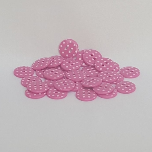 <!-- 050 --> Plastic Polka Dot Buttons - Cerise, per button - available in