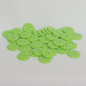 Plastic Polka Dot Buttons - Green, per button - available in 2 sizes