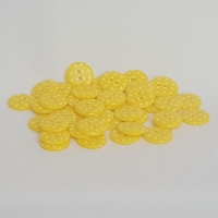 <!-- 054 --> Plastic Polka Dot Buttons - Yellow, per button - available in 2 sizes