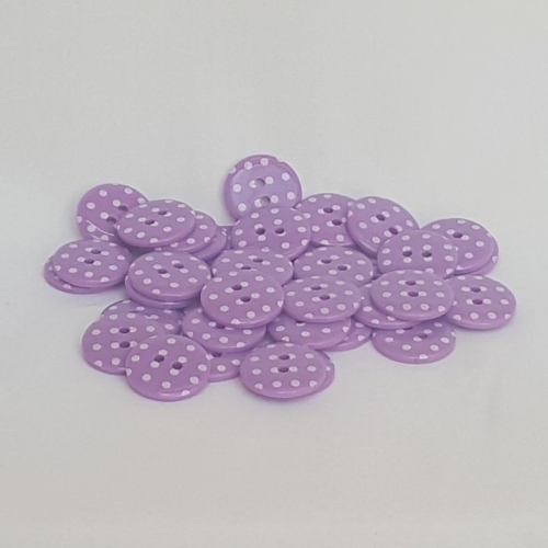 <!-- 051 --> Plastic Polka Dot Buttons - Purple, per button - available in