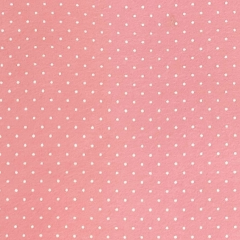 Wool Blend Felt - Polka Dot in Rose Pink, per sheet - Available in 2 sizes