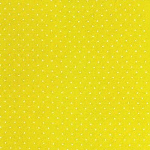 <!--557-->Wool Blend Felt - Polka Dot in Primrose, per sheet - Available in