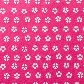 Wool Blend Felt - Flowers On Splendid Pink, per sheet - Available in 2 sizes  ***WAS £0.40***