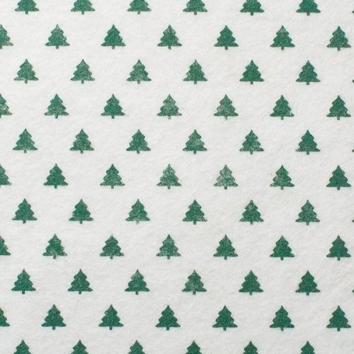 <!--580-->Wool Blend Felt - Green Christmas Trees, per sheet - Available in