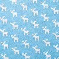 Wool Blend Felt - White Reindeer on Sky, per sheet - Available in 2 sizes