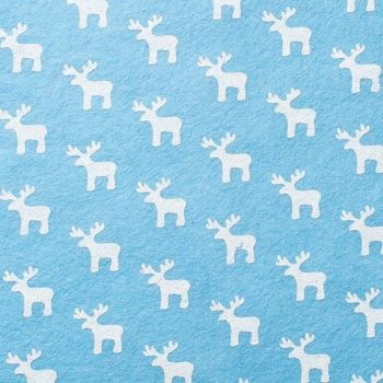Wool Blend Felt - White Reindeer on Sky, per sheet - Available in 2 sizes  ***WAS £0.40***