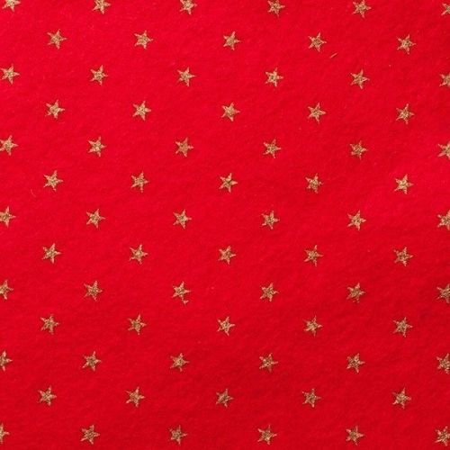 <!--584-->Wool Blend Felt - Stars - Oriental Red, per sheet - Available in