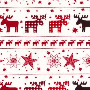 Scandinavian Reindeer in Red, per quarter (50cm x 67cm)  ***Was £1.40***