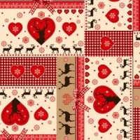 <!--9033-->Rose &amp; Hubble - Gingham Stags in Red, per quarter (50cm x 67cm)