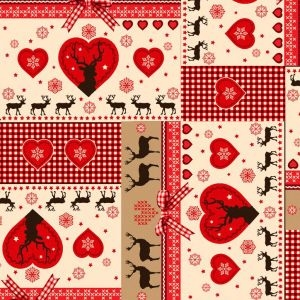 Rose & Hubble - Gingham Stags in Red, per quarter (50cm x 67cm)