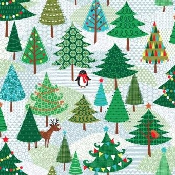 Makower UK - Frosty Trees, per fat quarter