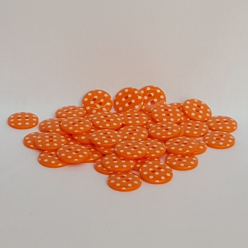 <!-- 055 --> Plastic Polka Dot Buttons - Orange, per button - available in
