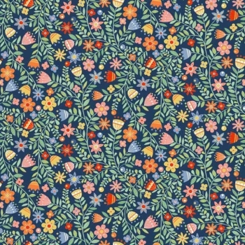 Makower UK - Crafty Cats Flowers On Blue, per fat quarter ***WAS £2.50***