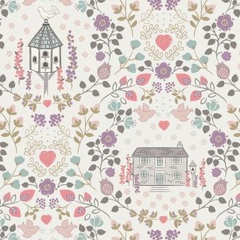 Lewis & Irene - Dove House on Light Cream, per fat quarter  ***Was £2.70***