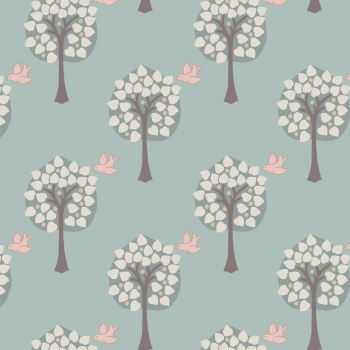 Lewis & Irene - Dove House Love Tree on Duck Egg, per fat quarter  ***Was £2.70***
