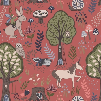 Lewis & Irene - Enchanted Forest On Dusky Red, per fat quarter