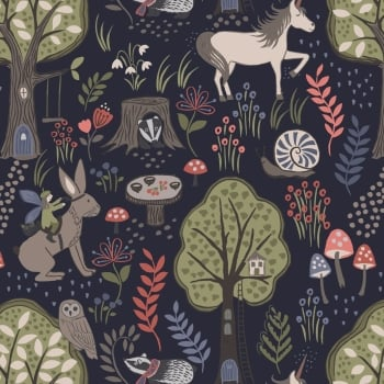 Lewis & Irene - Enchanted Forest On Navy, per fat quarter