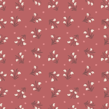 Lewis & Irene - Enchanted Forest Snowdrops On Dusky Red, per fat quarter  ***WAS***