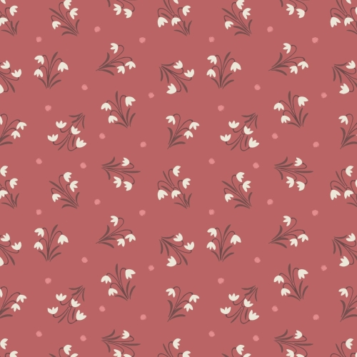 <!--4082-->Lewis & Irene - Enchanted Forest Snowdrops On Dusky Red, per fat