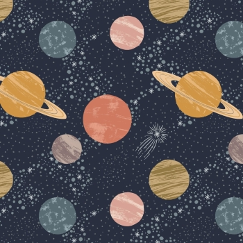 Lewis & Irene - To The Moon And Back Planets On Midnight Blue, per fat quarter  ***WAS £2.70***