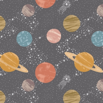 Lewis & Irene - To The Moon And Back Planets On Dark Grey, per fat quarter ***WAS £2.70***