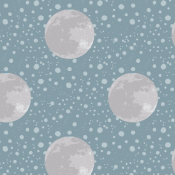 Lewis & Irene - To The Moon And Back Moon On Blue/Grey, per fat quarter ***WAS £2.70***
