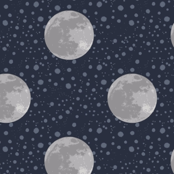 Lewis & Irene - To The Moon And Back Moon On Midnight Blue, per fat quarter ***WAS £2.70***
