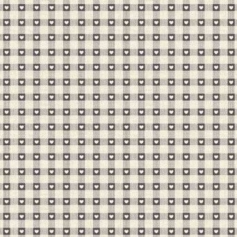 Makower UK - Scandi 3 Checkered Hearts in Grey, per fat quarter  ***Was £2.25***