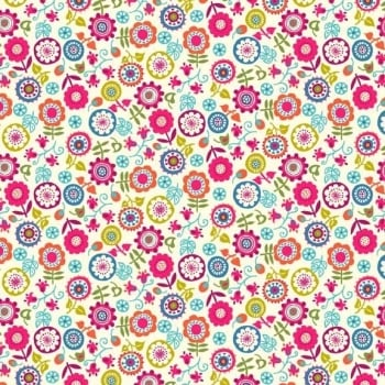 Makower UK - Papillon Small Floral in Pink, per fat quarter