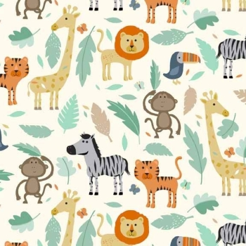 Makower UK - Baby Jungle Scenic, per fat quarter