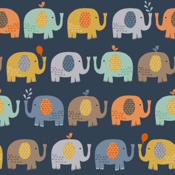 Makower UK - Baby Jungle Elephants In Blue, per fat quarter