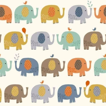 Makower UK - Baby Jungle Elephants In Cream, per fat quarter