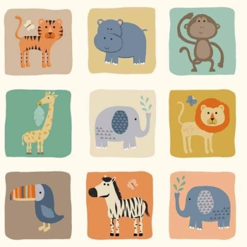 Makower UK - Baby Jungle Blocks In Cream, per fat quarter