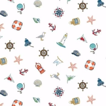 Makower UK - Marina Icons Scatter, per fat quarter ***WAS £2.50***