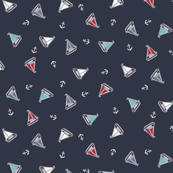 Makower UK - Marina Tossed Yachts In Blue, per fat quarter ***WAS £2.50***