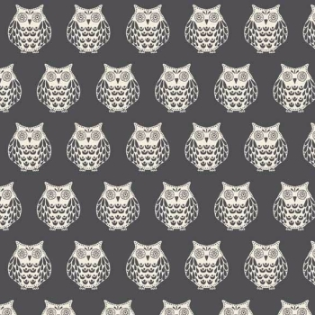 Makower UK - Papillon Owls in Silver Grey, per fat quarter