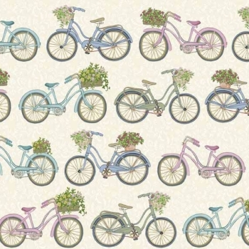 Makower UK - Antique Garden Bicycles in Cream, per fat quarter  ***WAS £2.50***