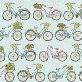 Makower UK - Antique Garden Bicycles in Blue, per fat quarter  ***WAS £2.50***