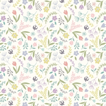 Lewis & Irene - Salisbury Spring Swallows and Blooms On White, per fat quarter