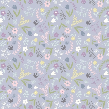 Lewis & Irene - Salisbury Spring Swallows and Blooms On Lavender, per fat quarter