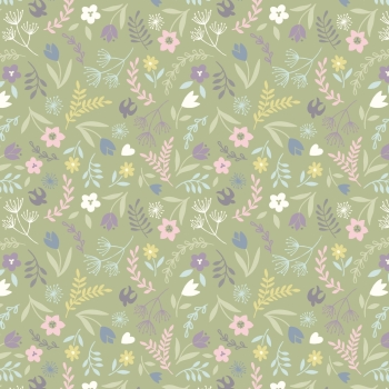 Lewis & Irene - Salisbury Spring Swallows and Blooms On Green, per fat quarter