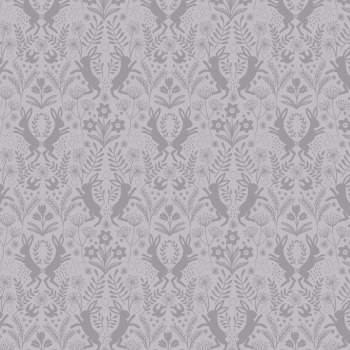 Lewis & Irene - Salisbury Spring Little Hares Dark Grey on Grey, per fat quarter