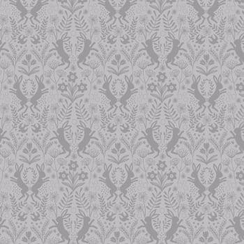 Lewis & Irene - Salisbury Spring Little Hares Dark Grey on Grey, per fat quarter  ***WAS £2.75***