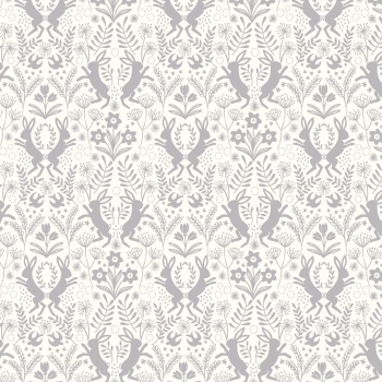 Lewis & Irene - Salisbury Spring Little Hares Grey on White, per fat quarter  ***WAS £2.75***