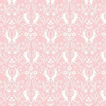 Lewis & Irene - Salisbury Spring Little Hares White on Pink, per fat quarter