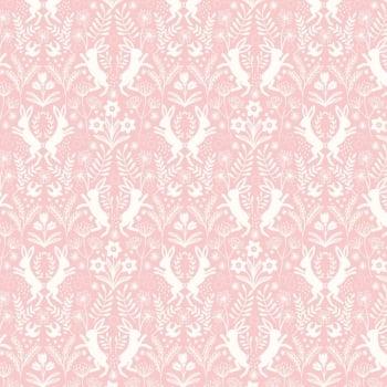 Lewis & Irene - Salisbury Spring Little Hares White on Pink, per fat quarter