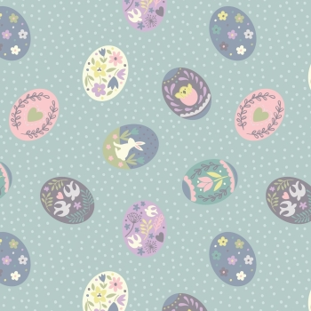 Lewis & Irene - Salisbury Spring Painted Eggs On Blue, per fat quarter  ***WAS £2.75***