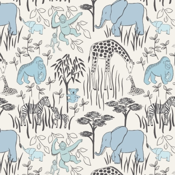 Lewis & Irene - Welcome To The World Animal Parents With Babies In Blue, per fat quarter
