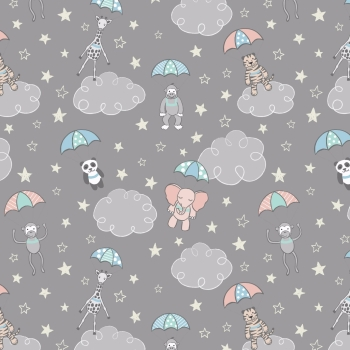 Lewis & Irene - Welcome To The World Parachuting Babies On Grey, per fat quarter  ***WAS £2.75***